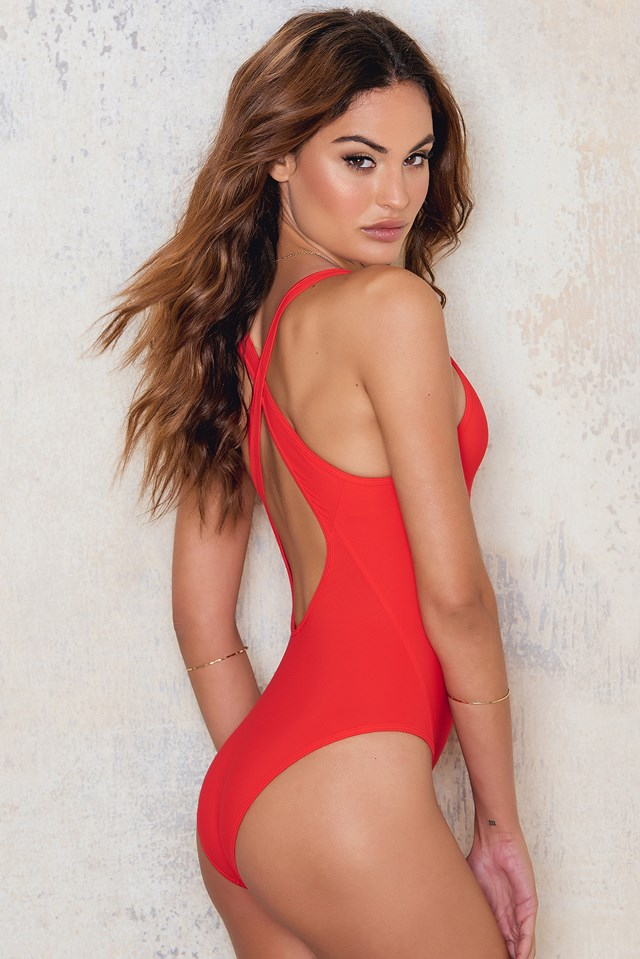 Cross-back Swimsuit Flame