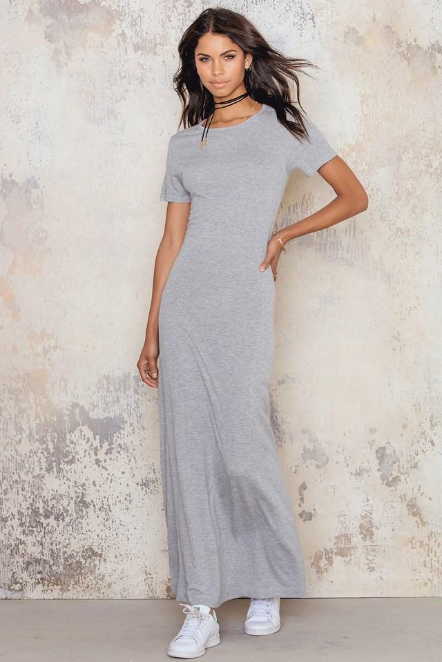 Maxi T-shirt Dress Grey Melange