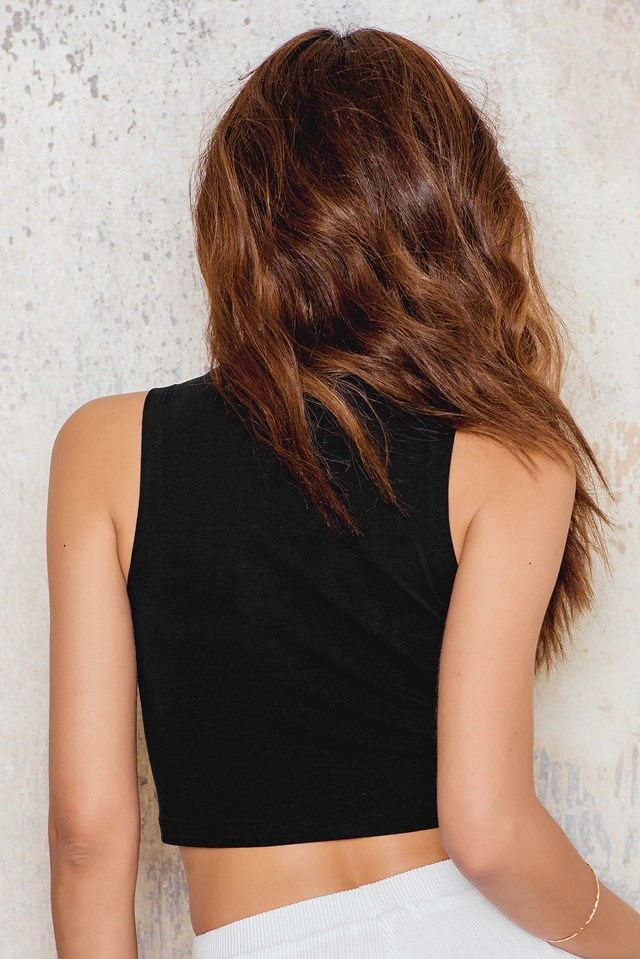Jersey Cropped Polo Top Black