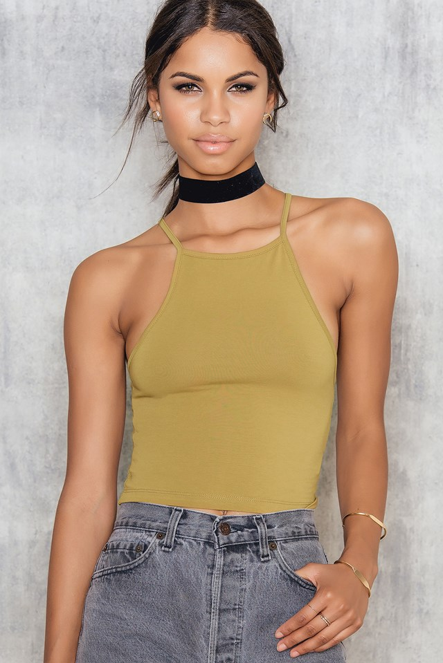 Jersey Cropped Crossback Top NA-KD.COM