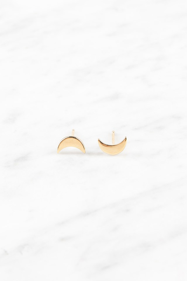 Moon Studs Gold Plated Silver