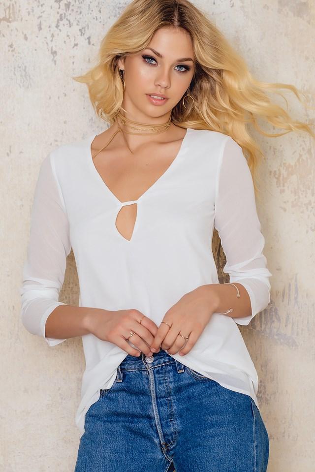 Overlay Sheer Blouse White