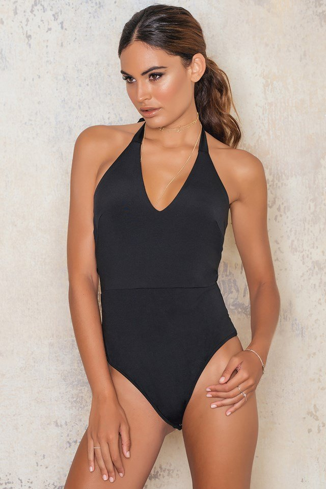 Deep Plunge One Piece Tie Back Black