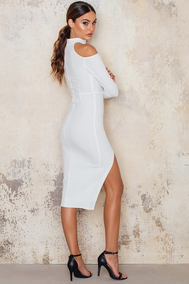 Off Shoulder Midi Dress Choker Neck Thigh Split White