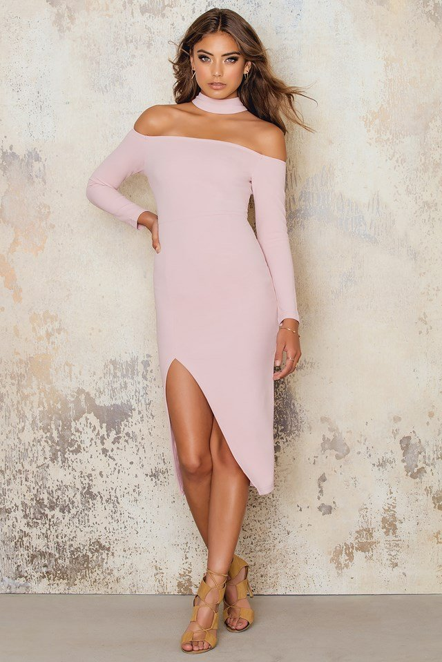 Off Shoulder Midi Dress Choker Neck Thigh Split Pink