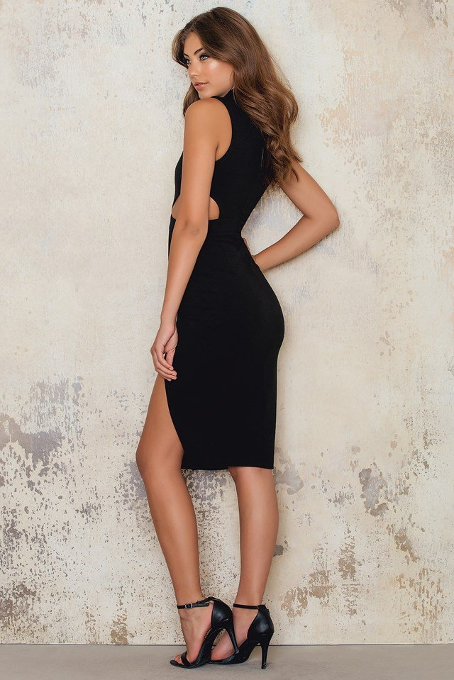 High Neck Midi Dress Keyhole Waist Cut Outs Black