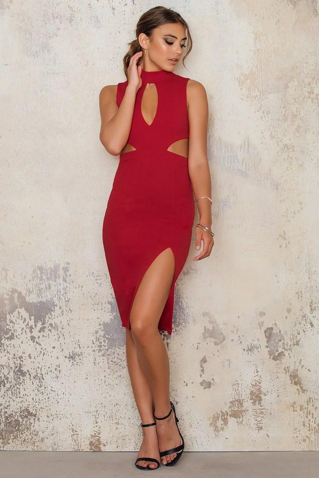 High Neck Midi Dress Keyhole Waist Cut Outs Red