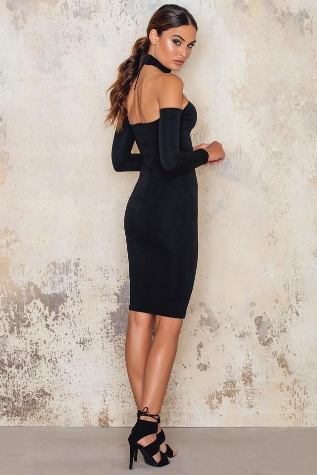 Cold Shoulder Midi Dress Lace Up High Neck Black