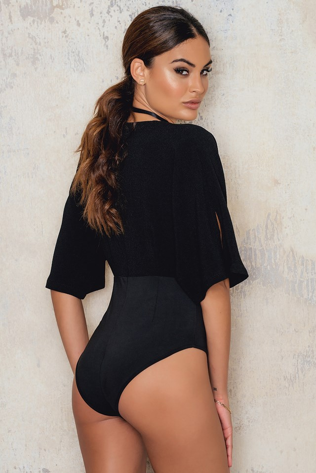 Kimono Sleeve Plunge Bodysuit Black
