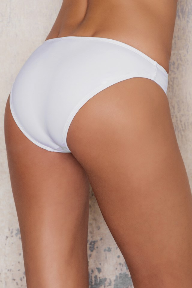 Turtle Neck Bottom Bikini Nylon White