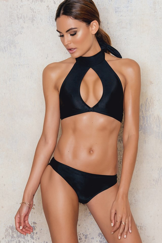 Turtle Neck Top Bikini Nylon Black