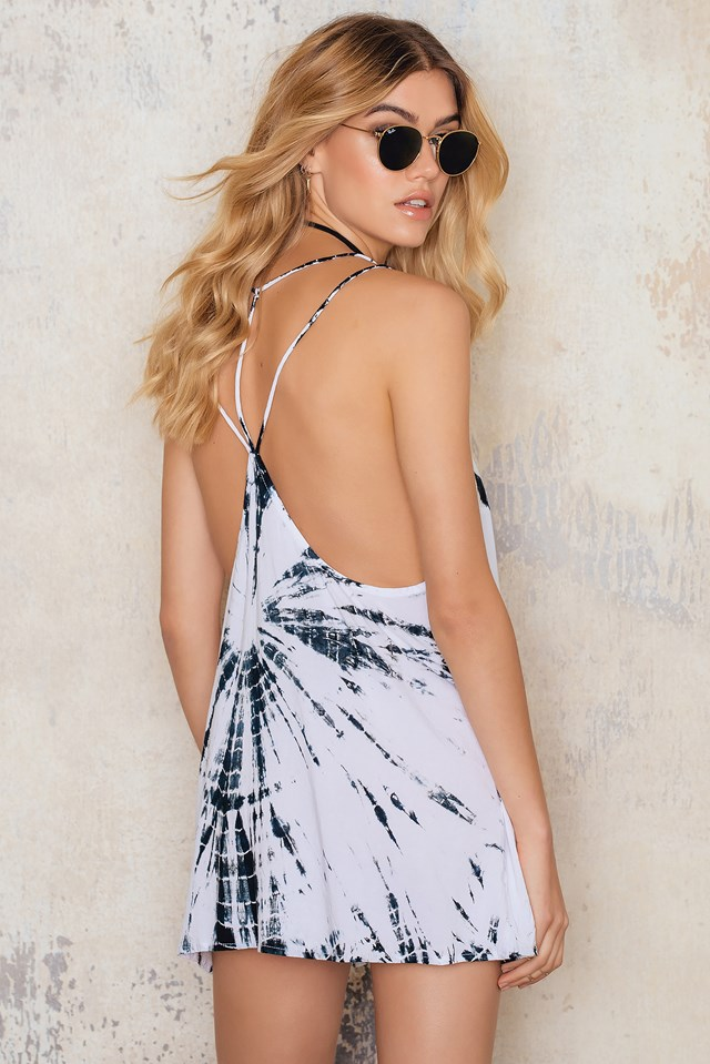 Royce Slip Dress Tie Dye B/W