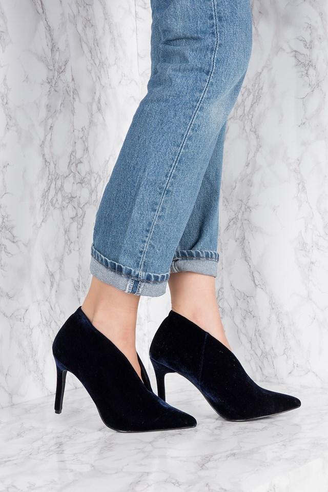 Velvet Plunge Heel Dark Blue