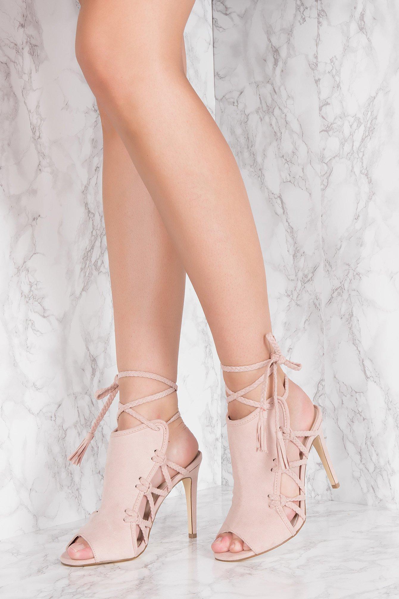 na-kd shoes -  Side Lacing High Heel - Pink
