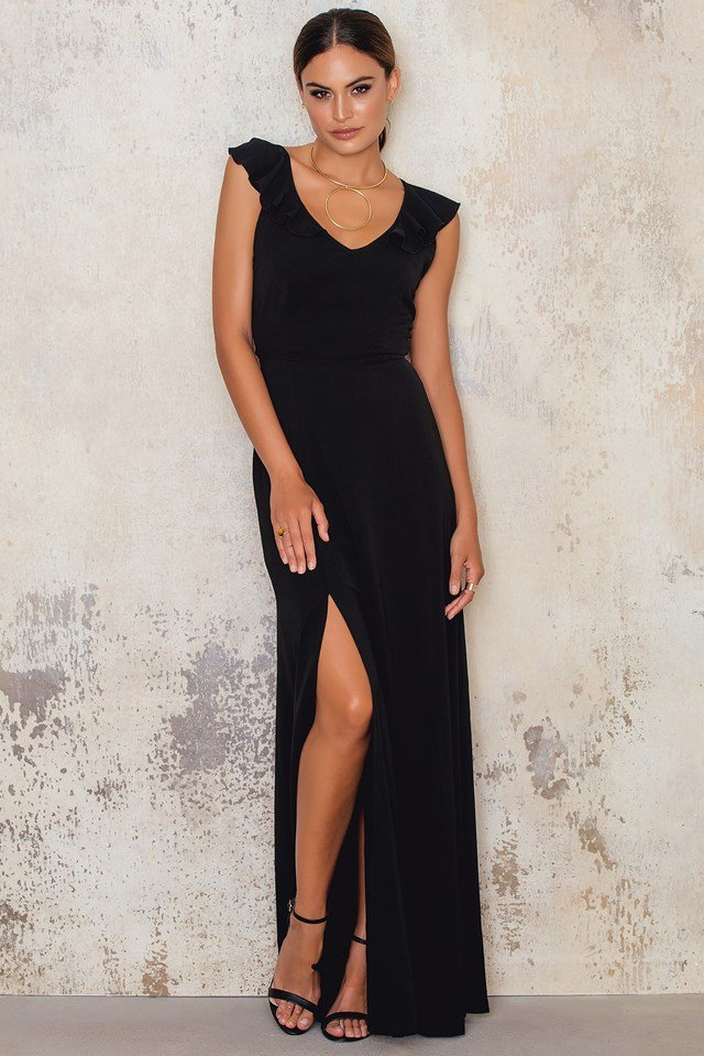 Crepe Maxi Dress with Front Side Split Black