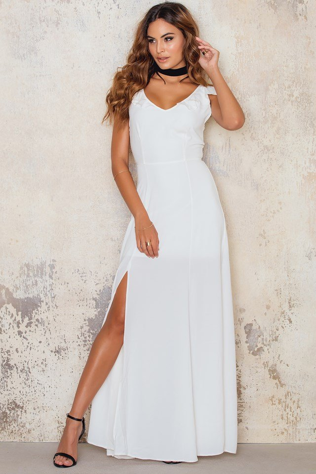 Crepe Maxi Dress with Front Side Split Ivory