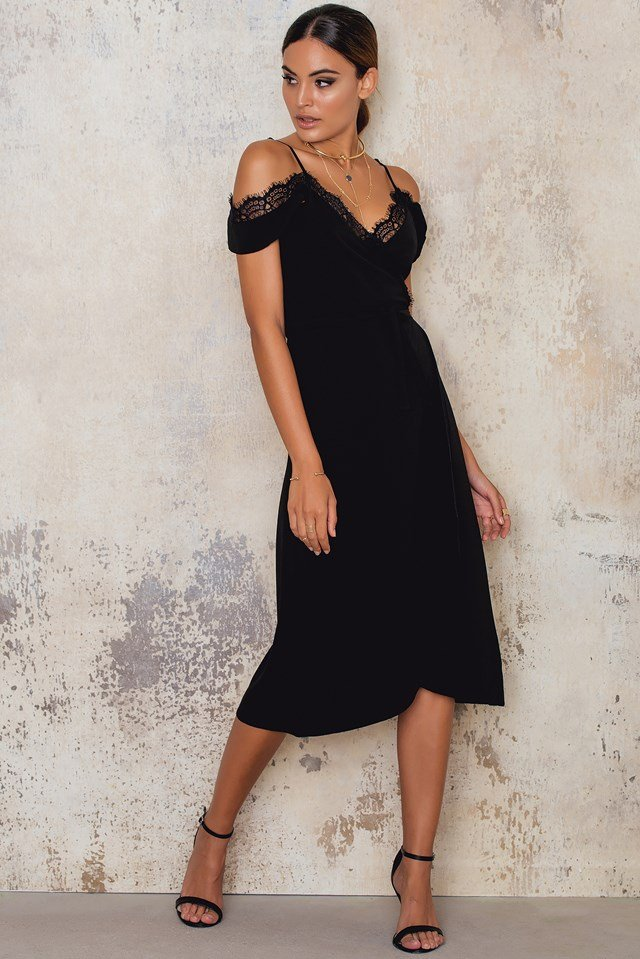 Midi Wrap Over Dress Black