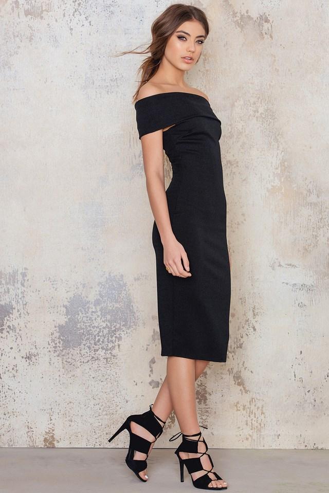 Multi Way Bardot Neckline Midi Dress NA-KD.COM