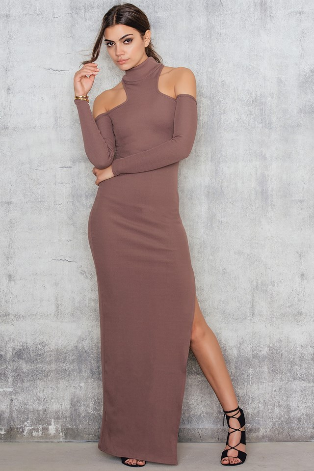High Neck Cold Shoulder Maxi Dress Mocha