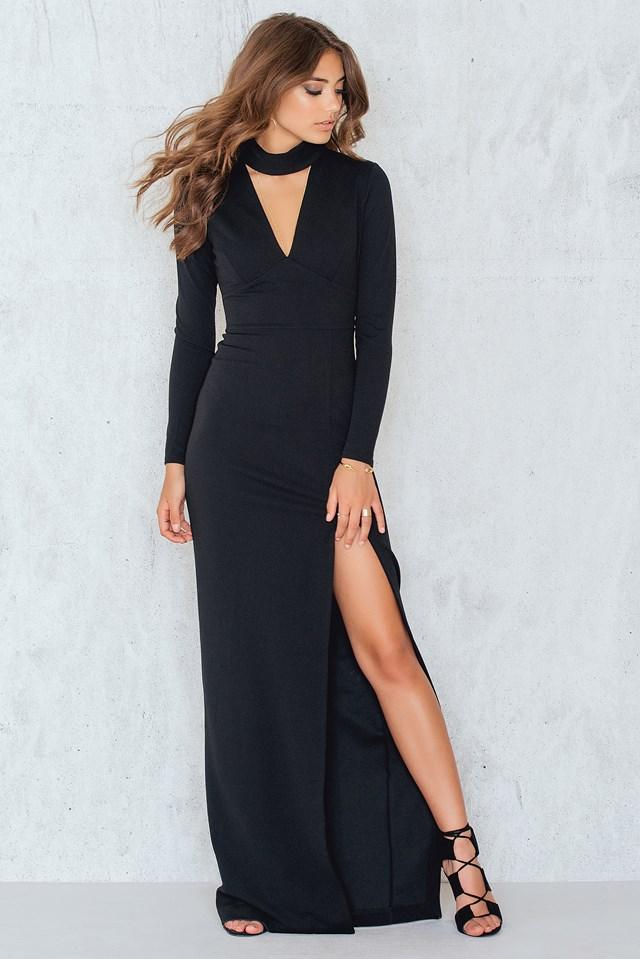 V Neck Cutout Long Sleeved Maxi Dress Black