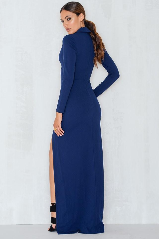 V Neck Cutout Long Sleeved Maxi Dress Navy