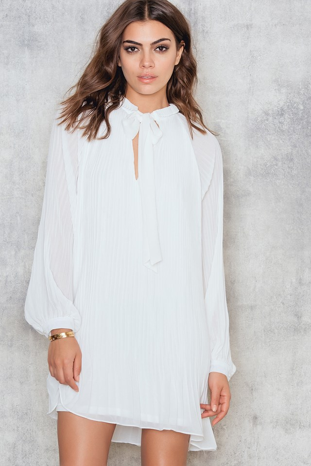Pleated Shirt Dress Cream