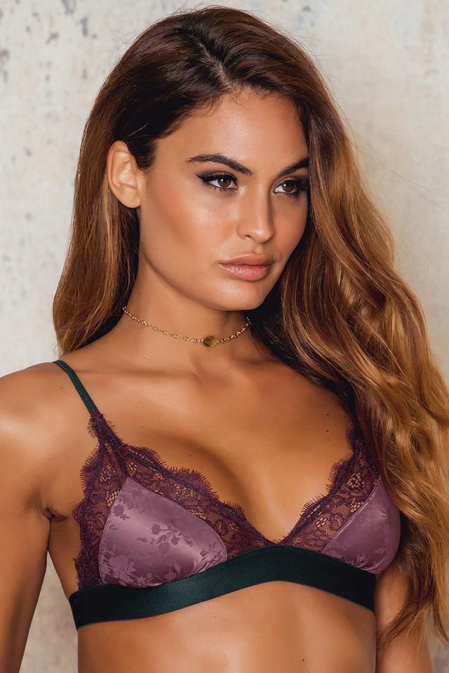 Love Lace Bralette Rose Brown