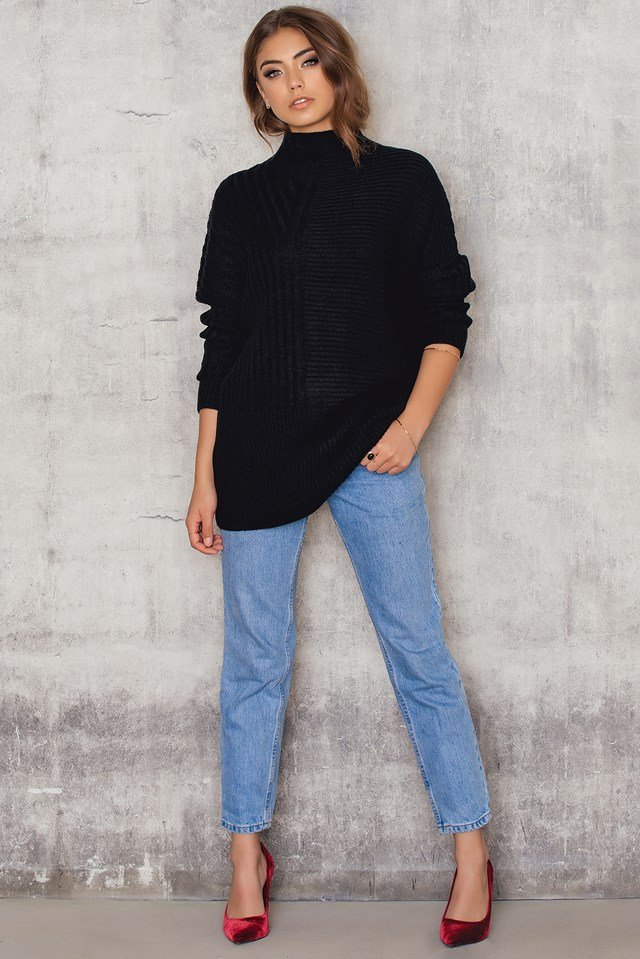 Oversized Asymmetric Knitted Sweater NA-KD.COM