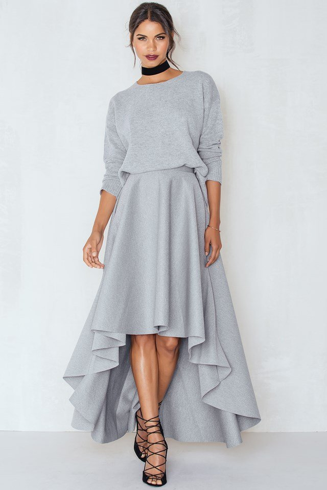 Scuba Skirt Light Grey