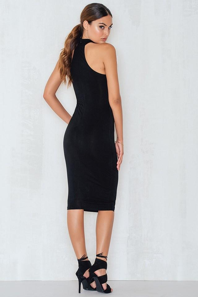 Round Neck Cotton Dress Black