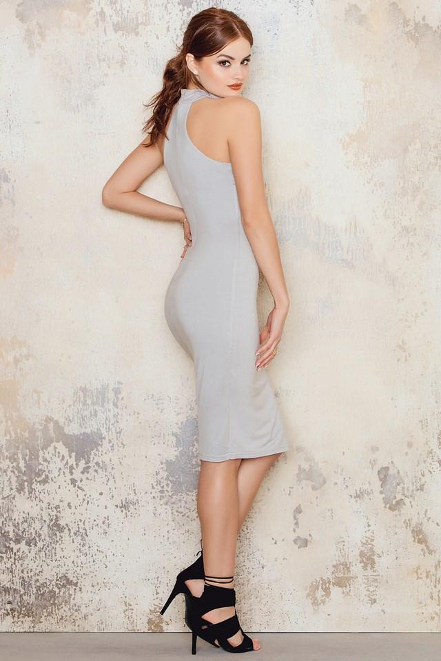 Round Neck Cotton Dress Grey