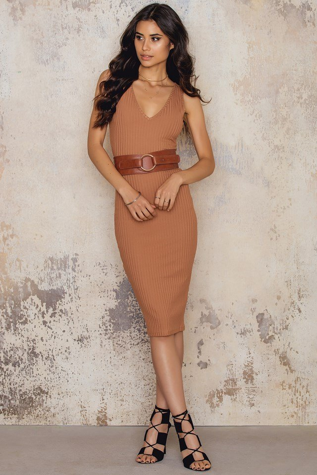 Casual Bodycon Dress Brown