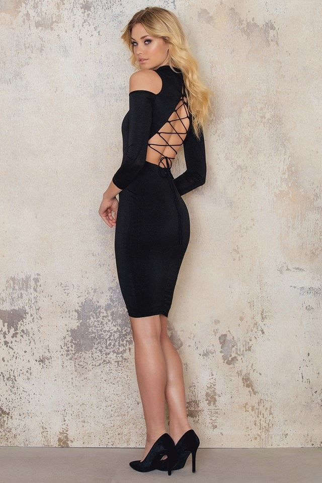 Cut Out Shoulder Bodycon Dress Black