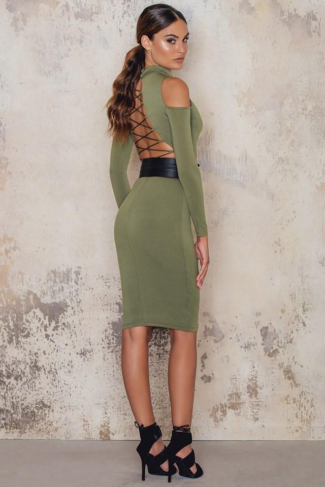 Cut Out Shoulder Bodycon Dress Khaki
