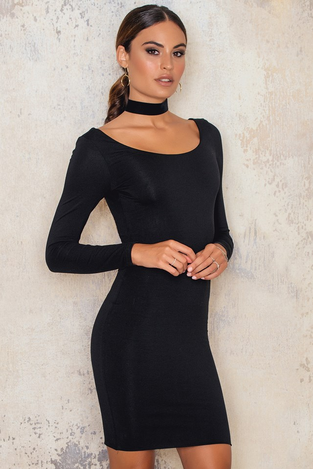 Crisscross Back Bodycon Dress Black