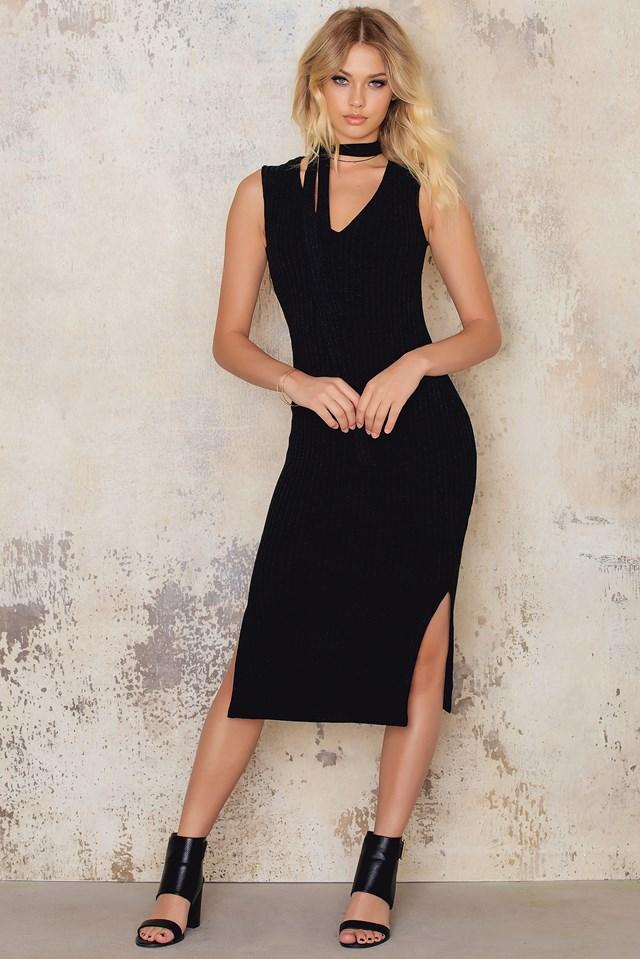 Sonia rib dress Black