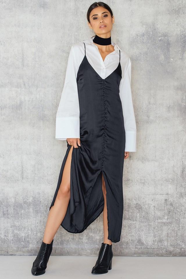 Chantal Button Through Slip Black