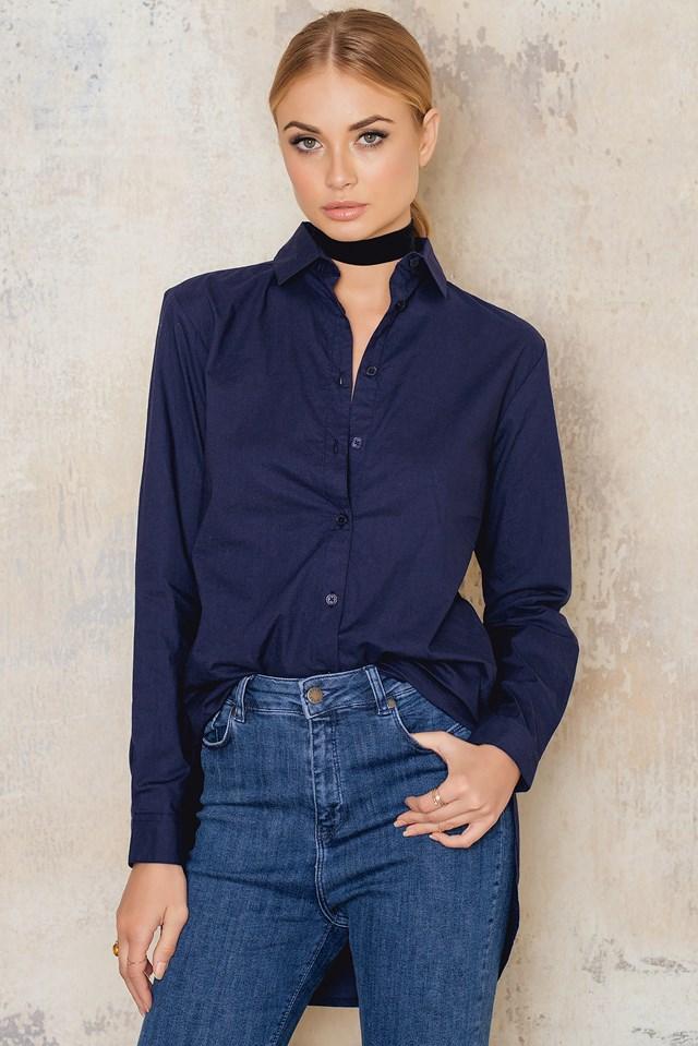 Oversize Slit Shirt Navy