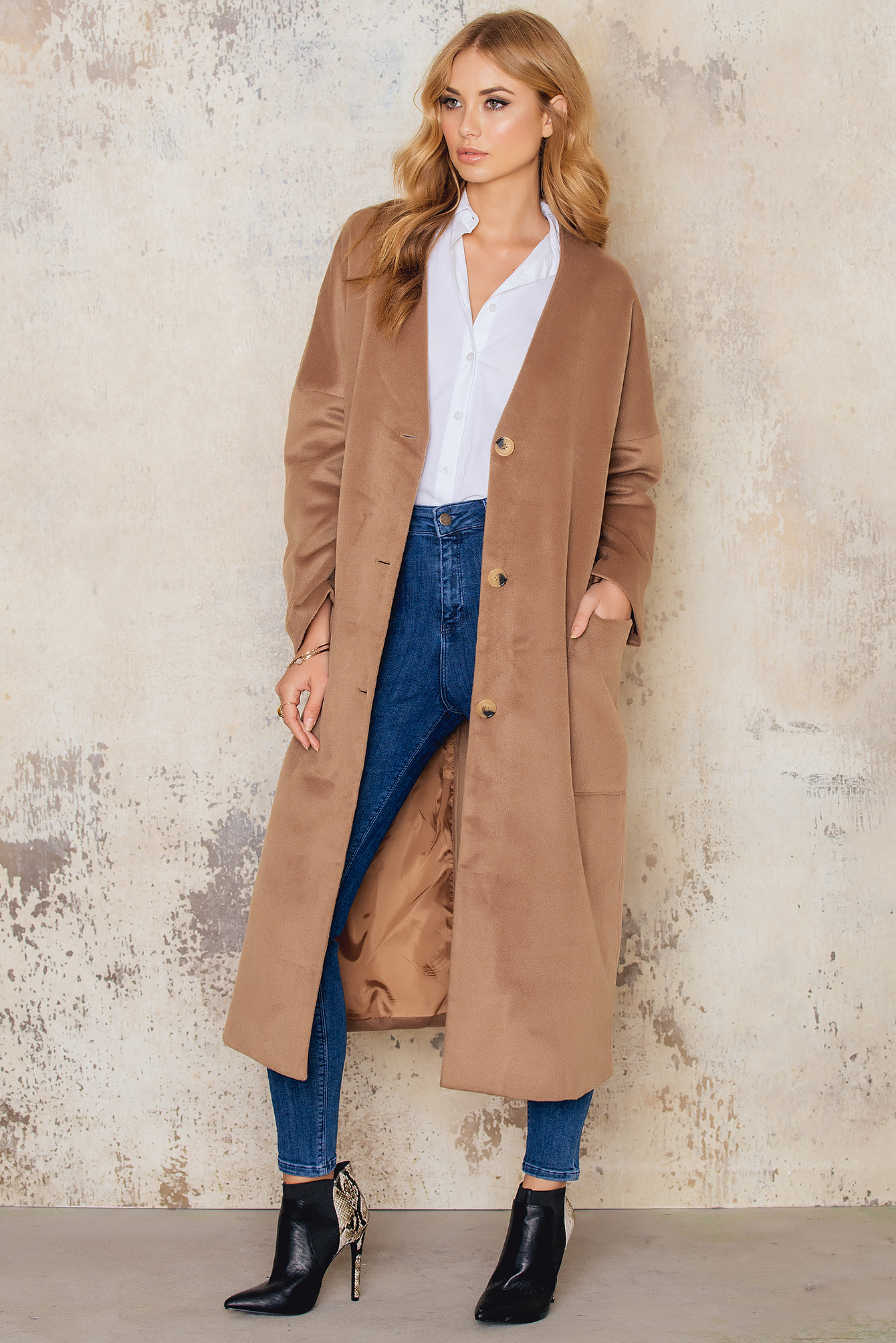 Camel Loose Big Pockets Coat
