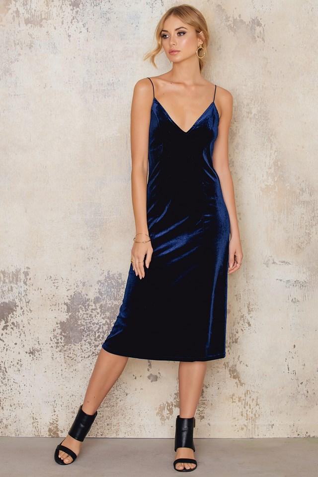 Sukienka Midi Velvet Strap Navy