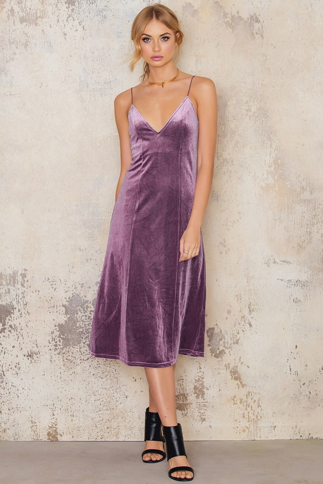 Velvet Strap Midi Dress Dark Pink