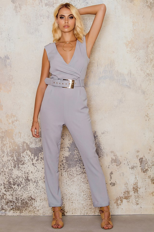 Belted Sleeveless Jumpsuit Silver