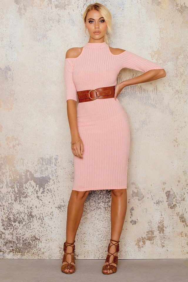 Cut Out Knitted Bodycon Dress Peach