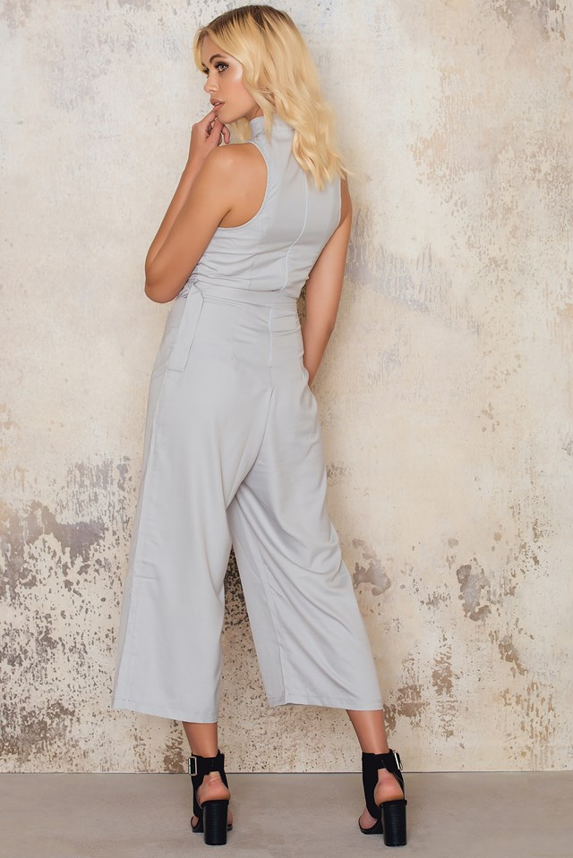 High Necked Culotte Jumpsuit Silver