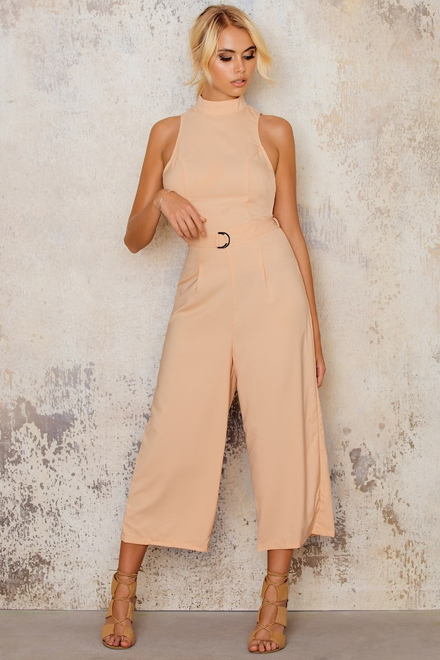 High Necked Culotte Jumpsuit Peach