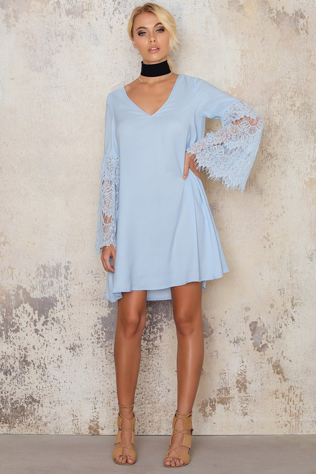 Crochet Sleeved Swing Dress Blue