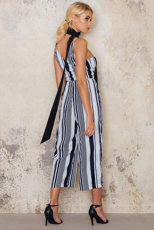 Striped Culotte Jumpsuit Blue