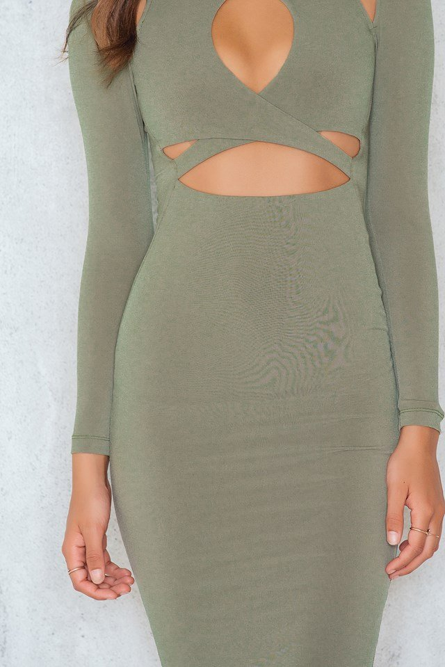 Loren Long Sleeve Dress Khaki