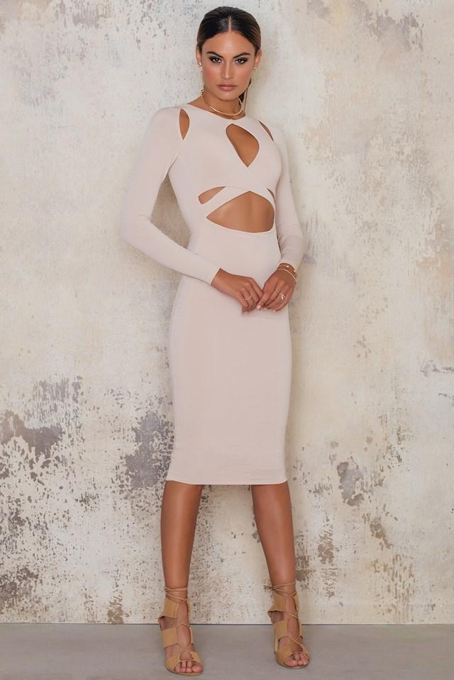 Loren Long Sleeve Dress Nude