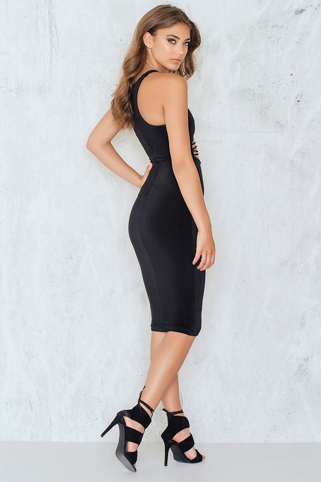 Mi Amore Hi Neck Shift Dress Black